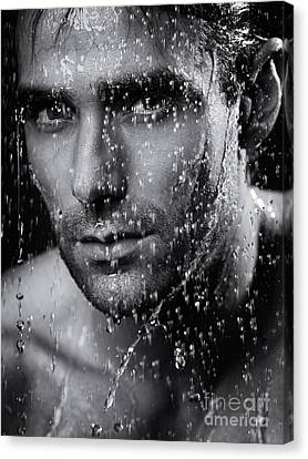 Man Face Wet From Water Running Down It Black And White Canvas Print by Oleksiy Maksymenko