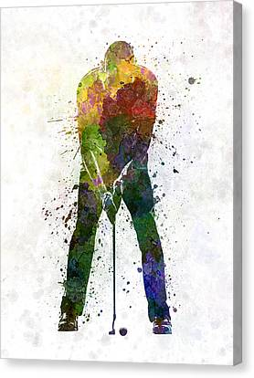 Man Golfer Putting Silhouette Canvas Print