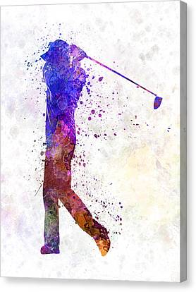 Man Golfer Swing Silhouette Canvas Print
