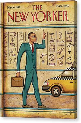 Man Hails Taxi While Resembling An Egyptian Canvas Print