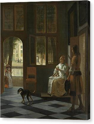 Man Handing A Letter To A Woman In The Entrance Hall Of A House Canvas Print