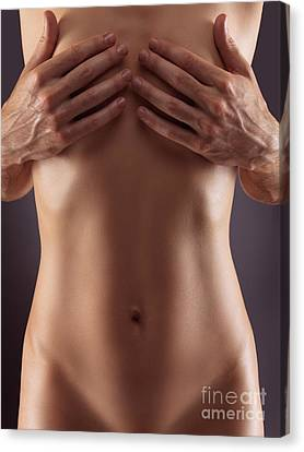 Man Hands Covering Nude Woman Breasts Canvas Print by Oleksiy Maksymenko