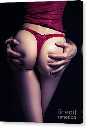 Man Hands On Sexy Woman Buttocks Canvas Print