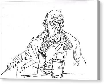 Man Having Coffee Canvas Print by Ylli Haruni