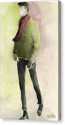 Man In A Green Jacket Fashion Illustration Art Print Canvas Print
