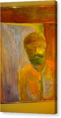 Man In Front Of The Door Canvas Print by Richard Benson