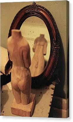 Wide Angled Glass Mirror Canvas Print - Man In The Mirror by David  Cardona