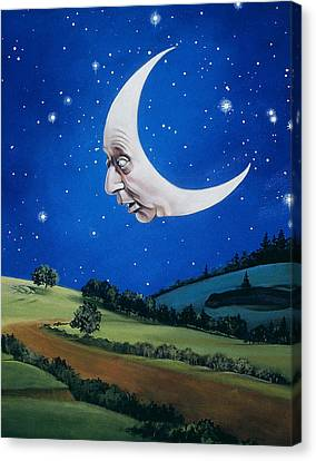Man In The Moon Canvas Print - Man In The Moon by Carol Heyer