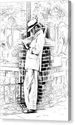 Man In White Canvas Print by John Haldane