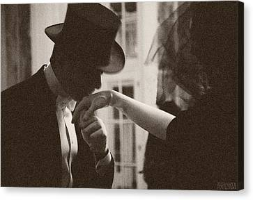 Man Kissing A Womans Hand Canvas Print