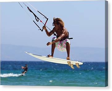 Man Kite Surfing Costa De La Canvas Print by Ben Welsh