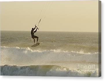 Man Kitesurfing On High Waves Canvas Print by Sami Sarkis