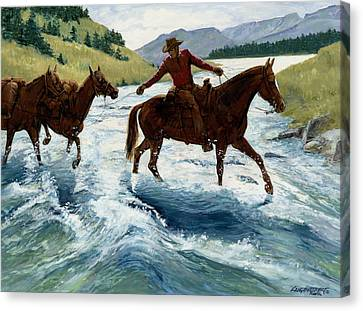 Trail Ride Canvas Print - Pack Horses Crossing River by Don  Langeneckert