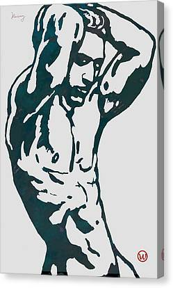 Man Nude Pop Stylised Etching Art Poster  Canvas Print by Kim Wang
