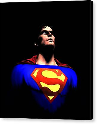 Canvas Print featuring the painting Man Of Steel by Jeff DOttavio
