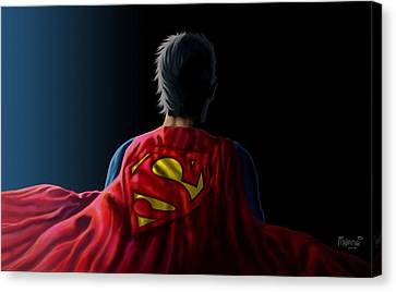 Canvas Print featuring the digital art Man Of Steel - Superman by Anthony Mwangi