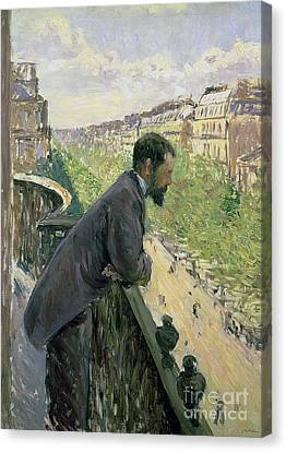 Man On A Balcony Canvas Print by Gustave Caillebotte