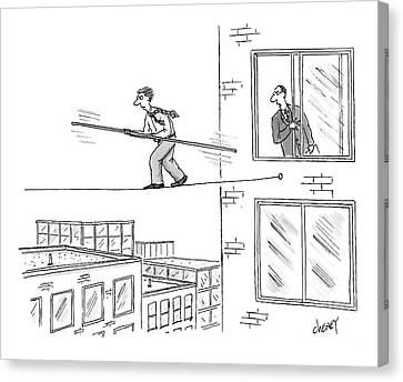 Man On A Tightrope Outside An Office Building Canvas Print