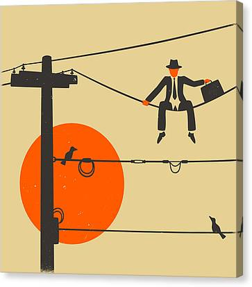 Man On A Wire Canvas Print by Jazzberry Blue