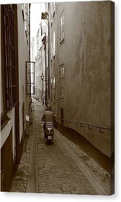Man On Motor Scooter In A Narrow Alley - Monochrome Canvas Print