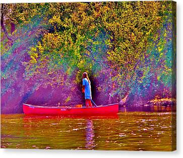 Man On River Canvas Print