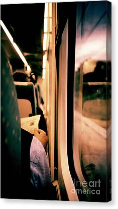 Man On Train - Lomo Lca Xpro Lomographic Analog 35mm Film Canvas Print by Edward Olive