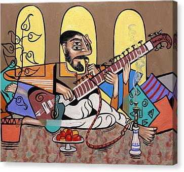 Man Playing A Sitar Canvas Print by Anthony Falbo