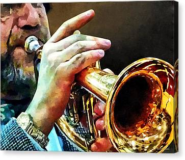 Man Playing Trumpet Canvas Print by Susan Savad