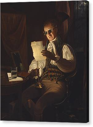 Man Reading By Candlelight Canvas Print by Rembrandt Peale