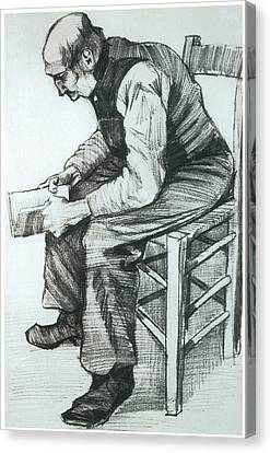 Man Reading The Bible Canvas Print by Vincent van Gogh