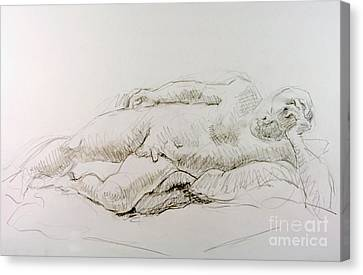 Laying On Stomach Canvas Print - Man Reclining  by Andy Gordon