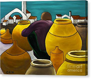 Man Selling Pots Canvas Print by William Cain