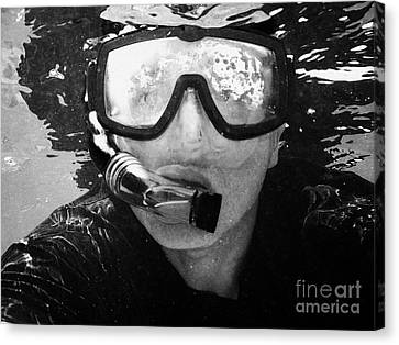 Man Snorkeling With Mask And Snorkel In Clear Water Dry Tortugas Florida Keys Usa Canvas Print by Joe Fox