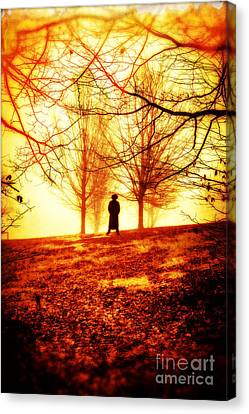 Man Standing In Front Of A Blazing Forest Fire Canvas Print by Edward Fielding