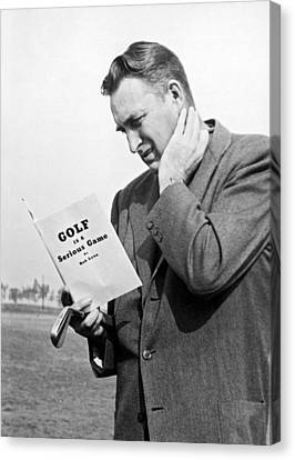 Man Studying A Golf Book Canvas Print by Underwood Archives