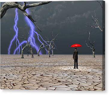 Canvas Print featuring the digital art Man Takes In Storm Under Umbrella by Bruce Rolff