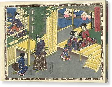 Man Talking With Squatting Woman, Behind Them A Flowering Canvas Print
