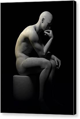 Canvas Print featuring the digital art Man Thinking... by Tim Fillingim