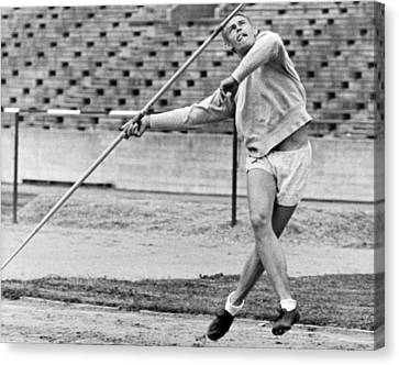 Man Throwing A Javelin Canvas Print by Underwood Archives