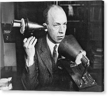 Concentration Canvas Print - Man Using First Telephone by Underwood & Underwood