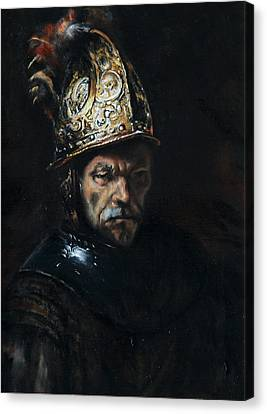 Man With A Golden Helmet After Rembrandt Canvas Print by Massimo Tizzano