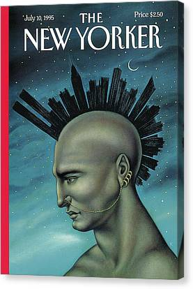 Man With A Mohawk That Resembles The Nyc Skyline Canvas Print by Anita Kunz