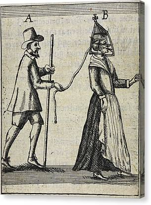 Man With A Woman On A Lead Canvas Print by British Library