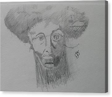 Canvas Print featuring the drawing Man With An Afro by AJ Brown