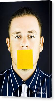 Man With Blank Paper Note Over His Mouth Canvas Print