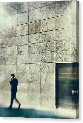 Canvas Print featuring the photograph Man With Cell Phone by Silvia Ganora