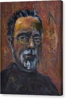 Man With Flowers-self-portrait Canvas Print