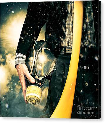 Man With Gas Mask. New Beginning. Skys The Limit Canvas Print by Jorgo Photography - Wall Art Gallery