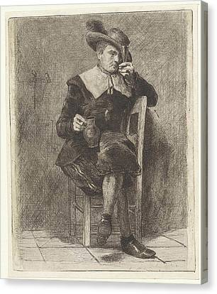 Man With Jug And Glass On A Chair Canvas Print by Litz Collection