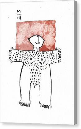 Man With Markings Red  Canvas Print